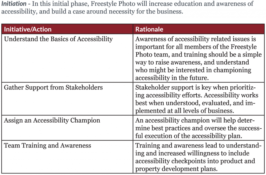 Freestyle Accessibility Plan Example